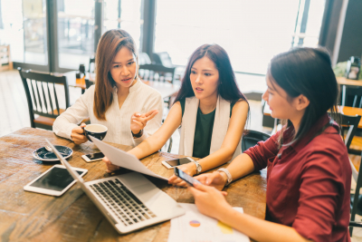 group of young women on business meeting